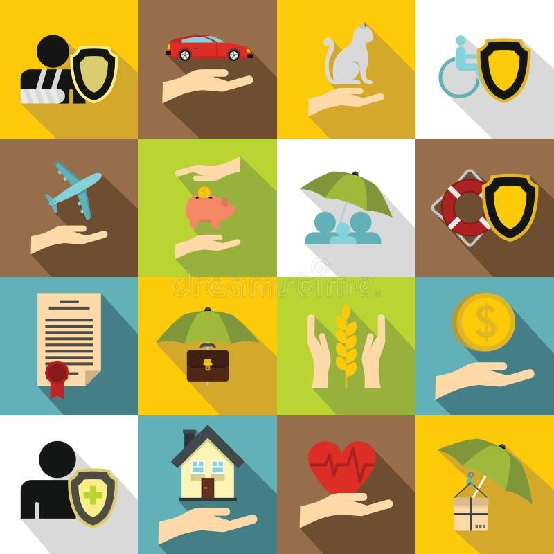 Försäkringsymbolsuppsättning, lägenhetstil stock illustrationer