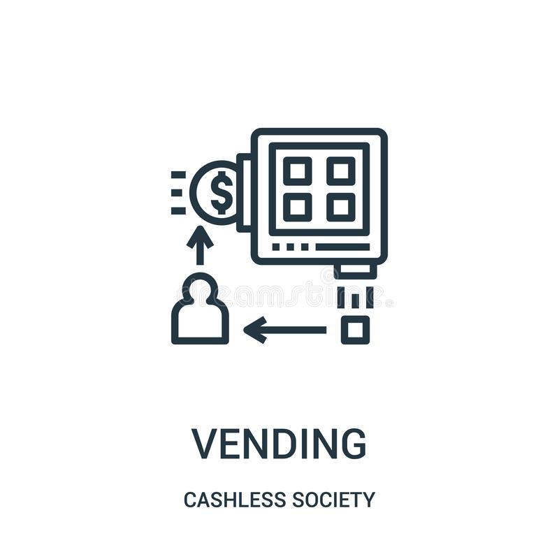 försälja symbolsvektorn från cashless samhällesamling Tunn linje som försäljer illustrationen för översiktssymbolsvektor vektor illustrationer