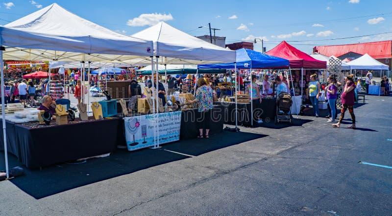 Försäljare och shoppare på skogskornellfestivalen royaltyfri fotografi