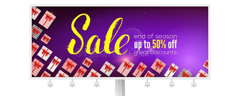 försäljning Affischtavla med handskriven bokstäver Stor rabatt upp till femtio procent rabatt Annons för rabatthandlingar royaltyfri illustrationer
