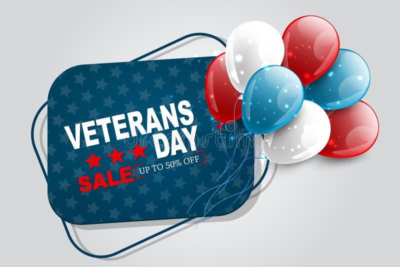 Försäljning av veterandagen Att hedra alla som tjänstgjorde Dekorationsgrafik i USA-format Nationellt semesterformskoncept Röda o royaltyfri illustrationer