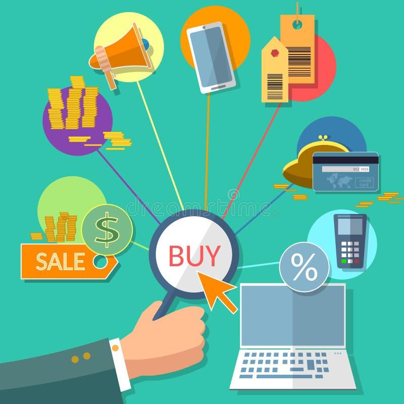 försäljning för köp för E-kommers begreppsinternet som shoppar online-lagerlägenheten stock illustrationer