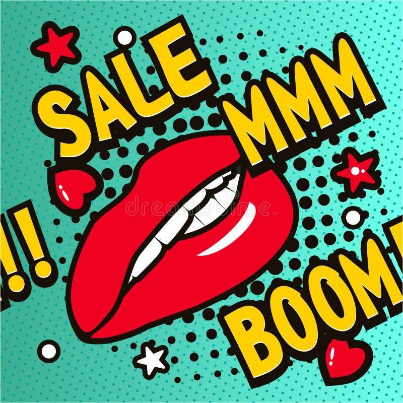 Försäljning för popkonst stock illustrationer