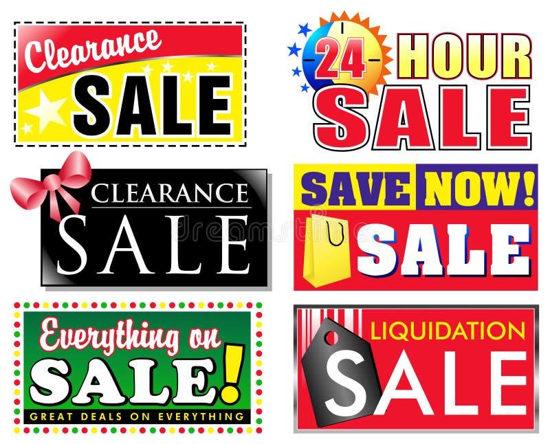 försäljning för rensningsrabattsymboler stock illustrationer