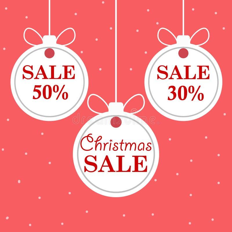 Försäljning för ` s för jul och för nytt år Härliga bollar för vit jul för rabatt och för befordran Vektorillustra vektor illustrationer