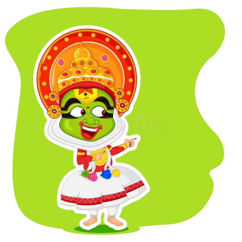 Försäljning för shopping för Kathakali dansare erbjudande för Onam vektor illustrationer