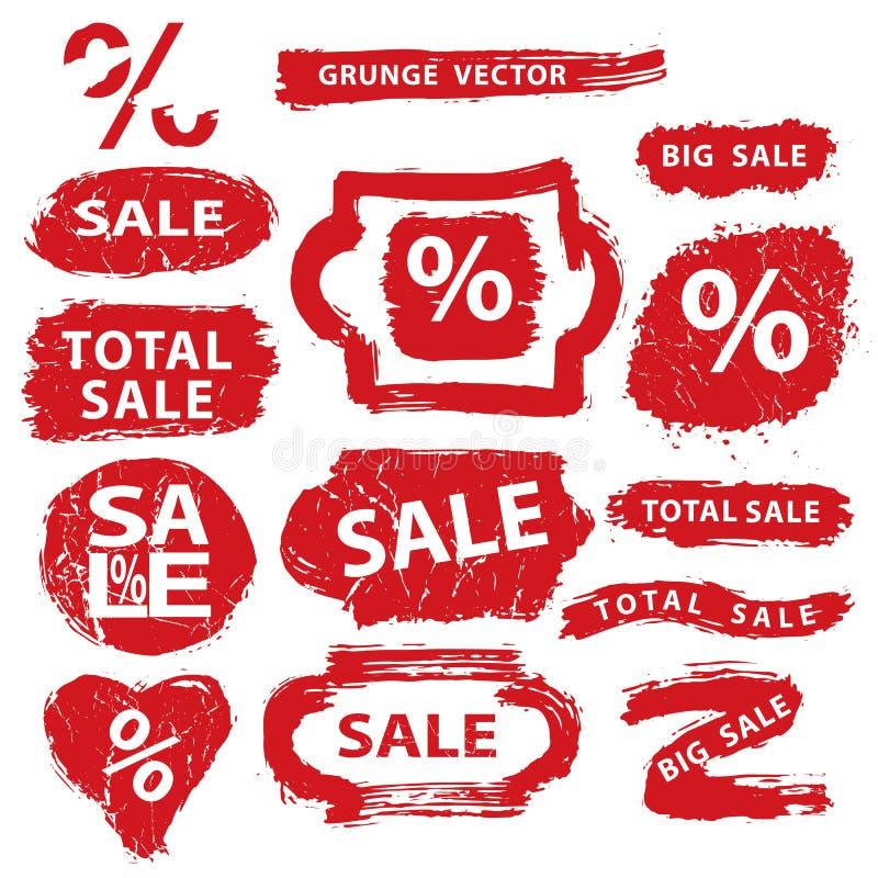 försäljning Grunge stämplar, emblem, etiketten, baner ställde in vektor illustrationer