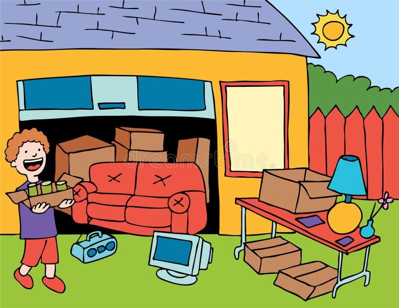 försäljning hemifrån stock illustrationer