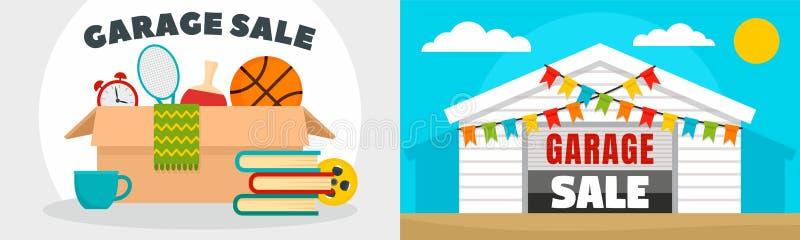 Försäljning hemifrånbaneruppsättning, plan stil royaltyfri illustrationer