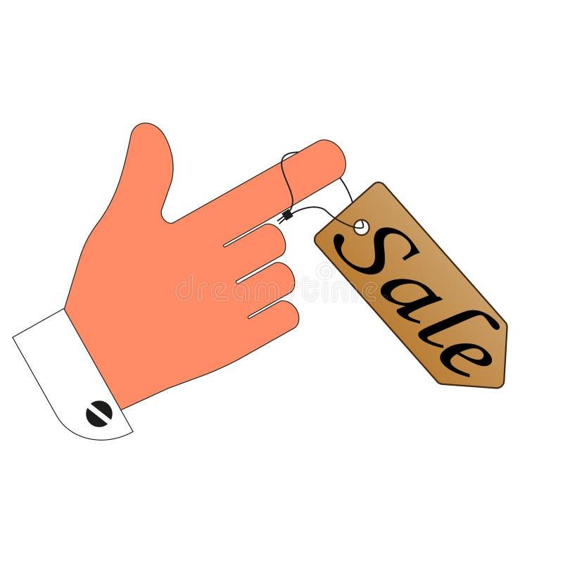 försäljning prislappetikettrabatt på ditt finger white för bakgrundsbitisolering stock illustrationer