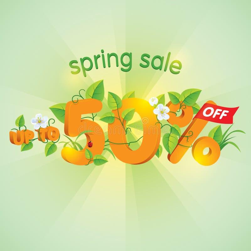 Försäljning upp till 50% för vårsäsong av stock illustrationer