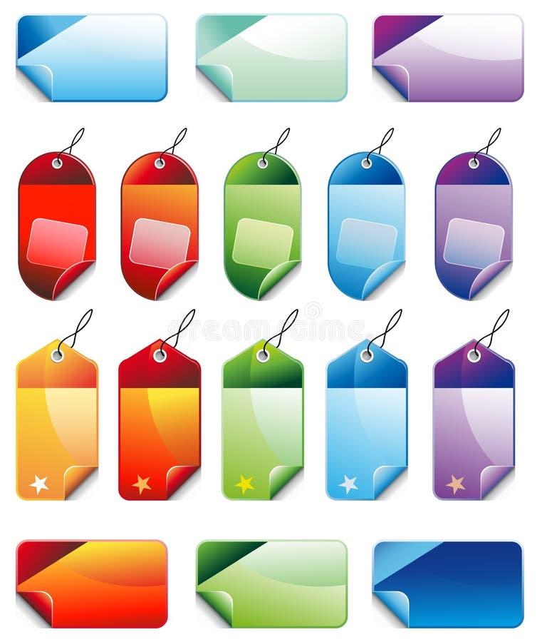 försäljningar för färgrikt pris för jul inställda befordrings- stock illustrationer