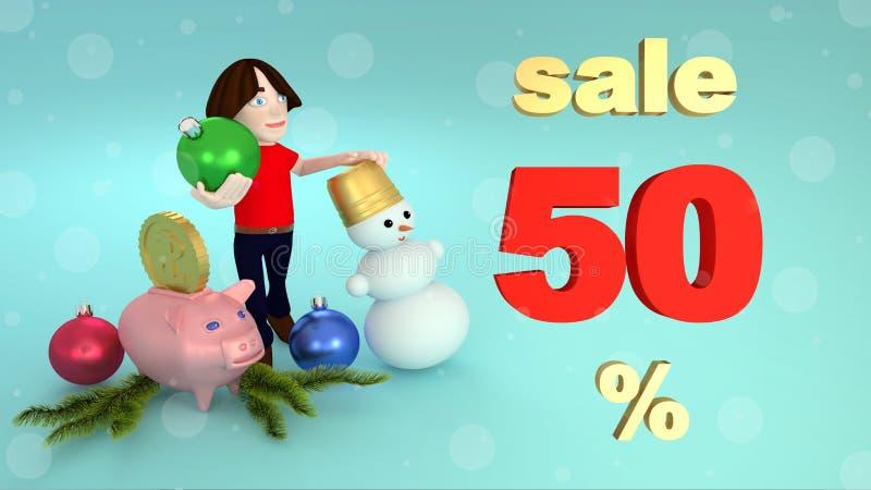Försäljningar för nytt år och julfemtio procent framförande 3d stock illustrationer