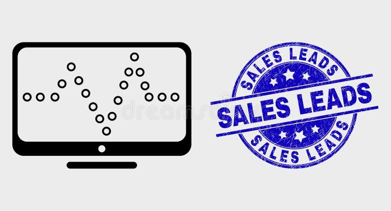 Försäljningar för symbol och för nödläge för vektoröversiktsleder online-prickiga diagram vattenstämpeln vektor illustrationer