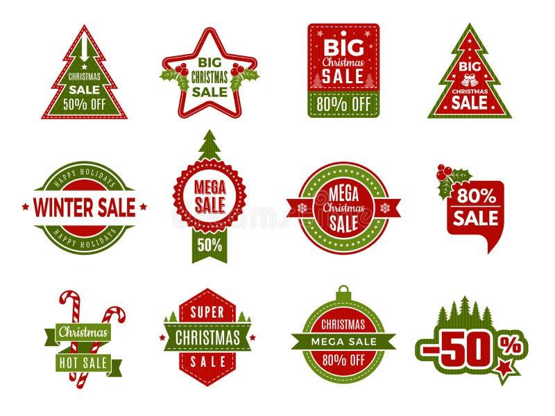 Försäljningar för vinterferie Julemblem eller återförsäljnings- rabattavtal för etiketter semestrar speciala erbjudanden av vekto vektor illustrationer