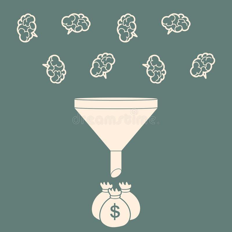 Försäljningar kanaliserar att konvertera hjärnor in i pengar Plan stil Vektor il vektor illustrationer
