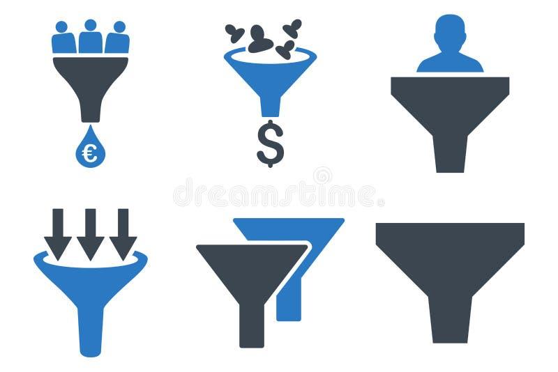Försäljningar kanaliserar plana vektorsymboler royaltyfri illustrationer