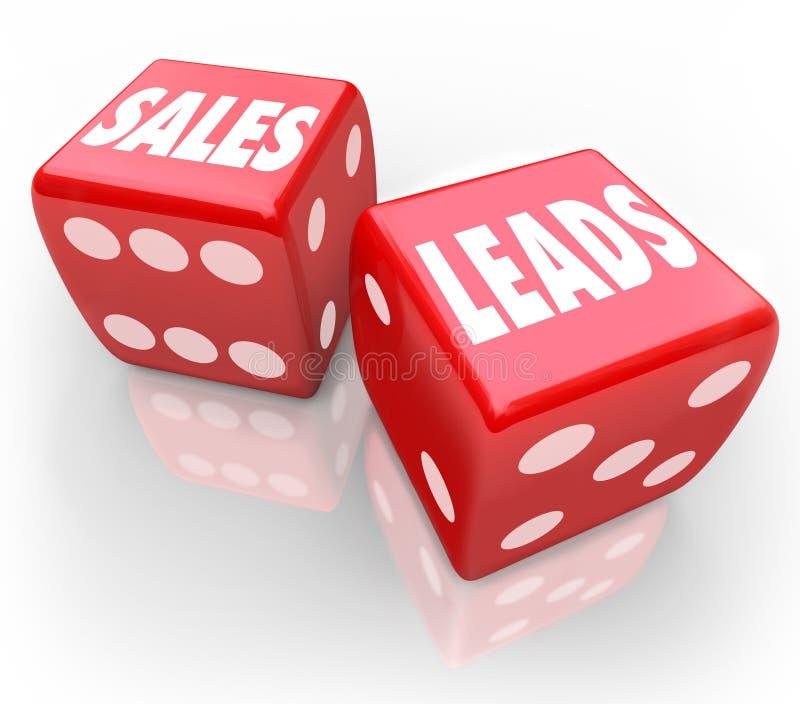 Försäljningar leder röd tärning för ord som spelar nya affärskunder stock illustrationer
