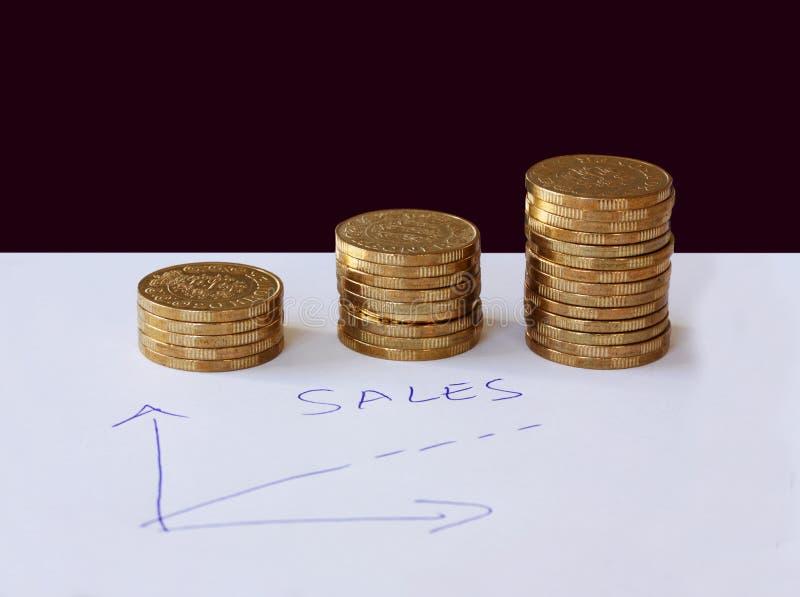 Försäljningar och affärsgrafen - räcka utdraget med bollpennan på vitbok och högar av guld- pengarmynt i stigande beställningsvis arkivbild