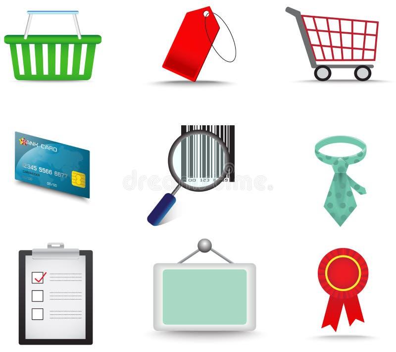 Försäljningar och för symbolssamling för kommers materiell uppsättning stock illustrationer