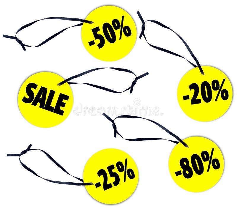 Försäljningar - shoppa prislappen eller märk på vit bakgrund arkivfoto