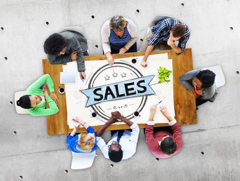 Försäljningar som säljer begrepp för rabattkommersmarknadsföring arkivbild