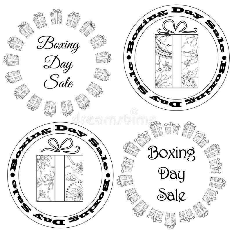 Försäljningen för boxningdagen stämplar, etiketter royaltyfri illustrationer
