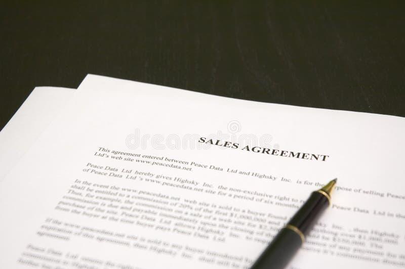 Försäljningsöverenskommelse arkivfoton