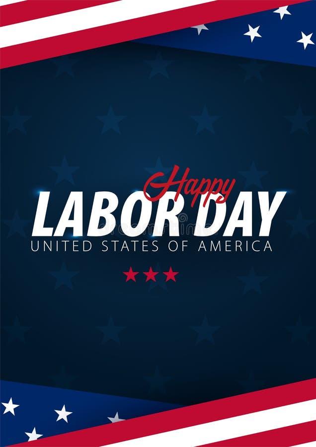 Försäljningsbefordran för arbets- dag, advertizing, affisch, baner, mall med amerikanska flaggan Amerikansk tapet för arbets- dag vektor illustrationer
