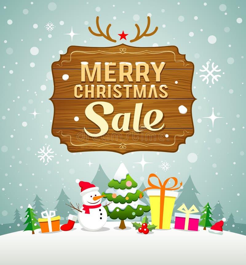 Försäljningsbegrepp för glad jul med det wood brädet på snö stock illustrationer