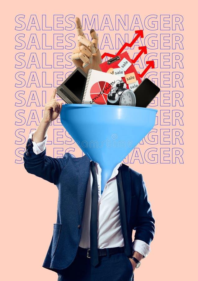 Försäljningschef modern design Samtida konstcollage arkivfoton