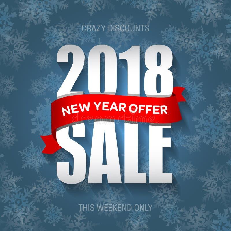 Försäljningsemblem 2018, etikett, promobanermall för nytt år Specialt erbjudande stock illustrationer
