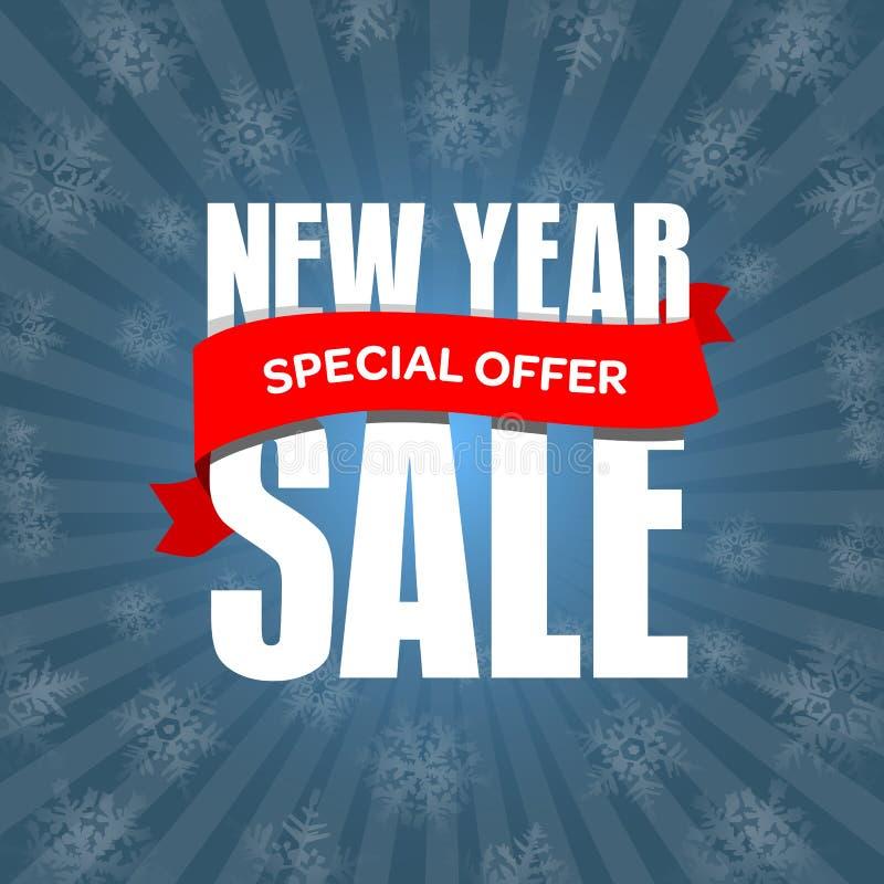 Försäljningsemblem för nytt år, etikett, promobanermall Specialt erbjudande vektor illustrationer