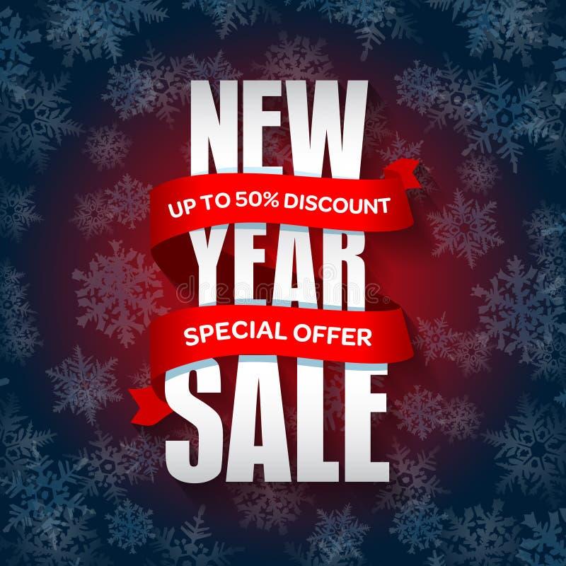 Försäljningsemblem för nytt år, etikett, promobanermall Specialt säsongsbetonat försäljningserbjudande stock illustrationer