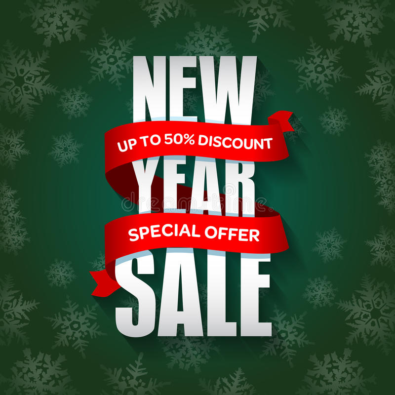 Försäljningsemblem för nytt år, etikett, promobanermall Specialt säsongsbetonat försäljningserbjudande vektor illustrationer