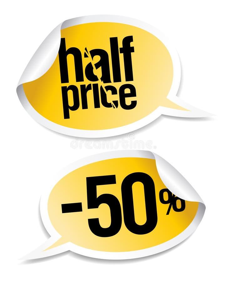 försäljningsetiketter för half pris royaltyfri illustrationer