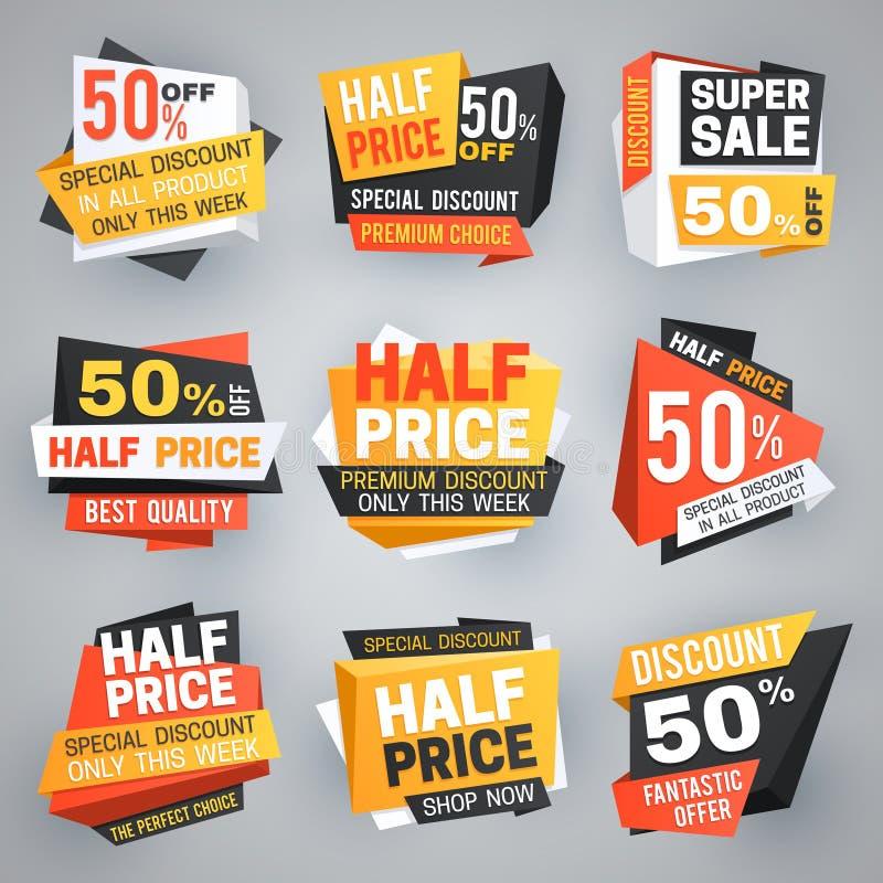 Försäljningsetiketter för halvt pris Special helgerbjudanderabatt, 50 av försäljningsbaner och kupongvektorsamling vektor illustrationer