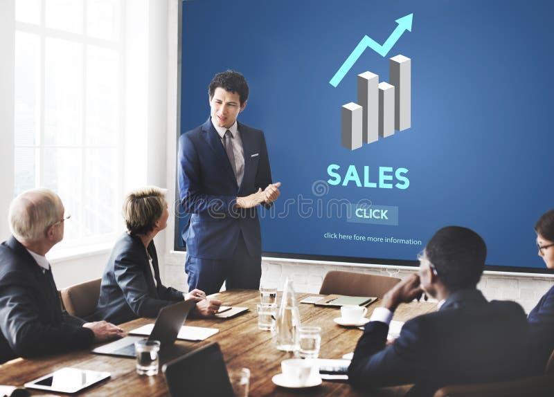 Försäljningsförsäljning som säljer begrepp för detaljhandel för kommerskostnadsvinst arkivbild