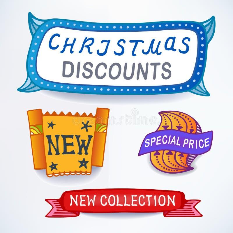 Försäljningsmeddelandeuppsättning stock illustrationer