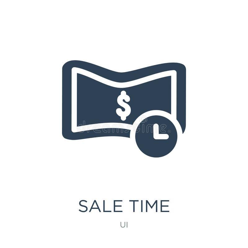 försäljningstidsymbol i moderiktig designstil Sale tidsymbol som isoleras på vit bakgrund lägenhet för symbol för försäljningstid royaltyfri illustrationer