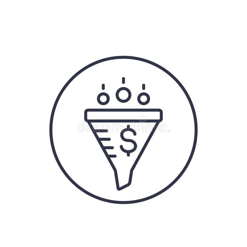 Försäljningstratt, digital marknadsföra linjär symbol royaltyfri illustrationer