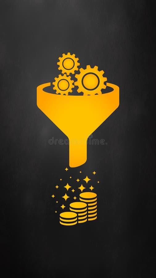 Försäljningstrattsymbol Begrepp för internetmarknadsföringsomvandling Producera pengar Utrusta uppsättningen stock illustrationer