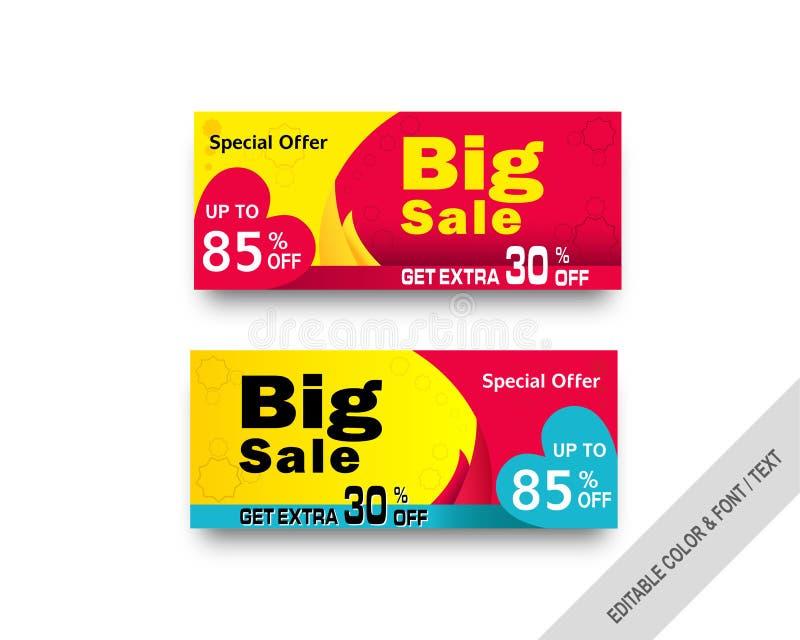 Försäljningsvektorbaner, försäljningsbefordran stock illustrationer