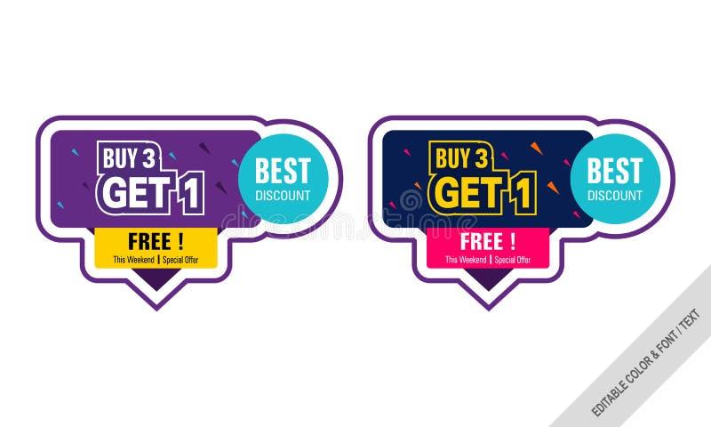 Försäljningsvektorbaner, klistermärkekupong royaltyfri illustrationer