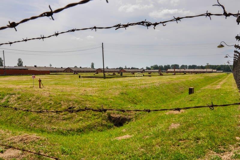 Försåg med en hulling - trådstaket i koncentrationsläger Auschwitz - Birkenau, Polen royaltyfri fotografi