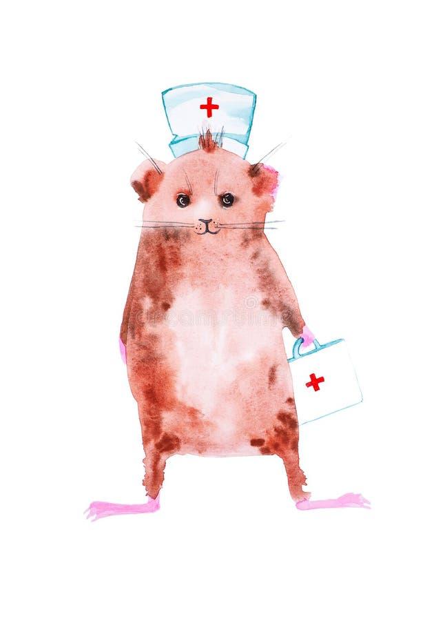 Försökskaninen blev en doktor och brådskor till räddningsaktionen Komisk vattenfärgillustration som isoleras på vit bakgrund royaltyfri illustrationer