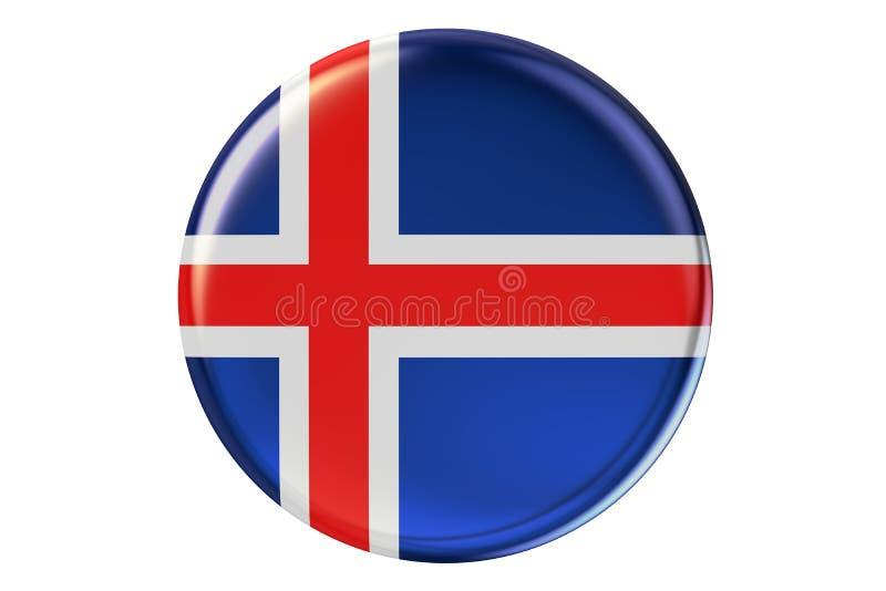 Förse med märke med flaggan av Island, tolkningen 3D royaltyfri illustrationer