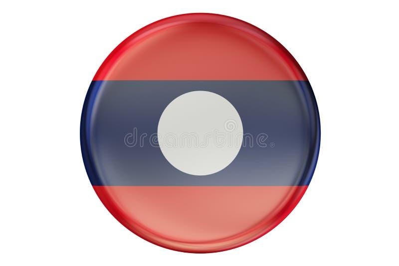 Förse med märke med flaggan av Laos, tolkningen 3D royaltyfri illustrationer