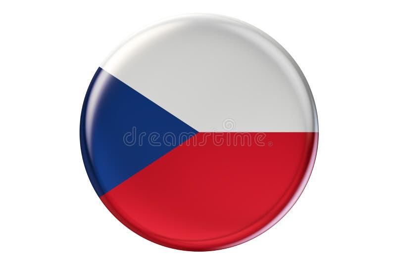 Förse med märke med flaggan av Tjeckien, tolkningen 3D stock illustrationer