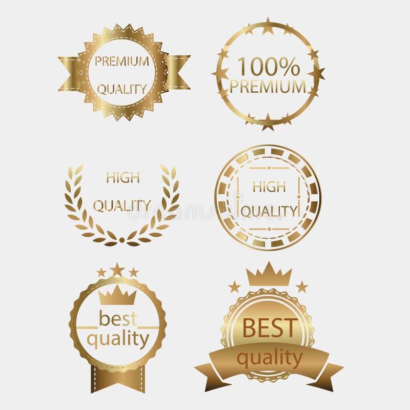 Förse med märke uppsättningen för samlingen för metall för designen för certifikatet för etiketten för den guld- guldmedaljskydds stock illustrationer